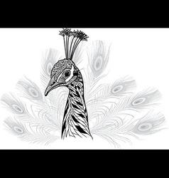 Peacock bird head as symbol for mascot or emblem vector image vector image