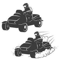 set of quad bike with driver icons isolated on vector image