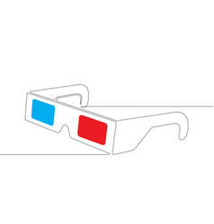 3d stereoscopic glasses one continuous line vector image