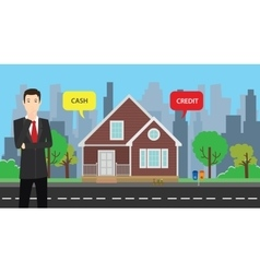 a businessman choose between cash or credit to buy vector image
