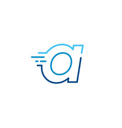 A letter dash lowercase tech digital fast quick vector