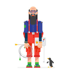 A programmer hacker drawn in cartoon flat vector