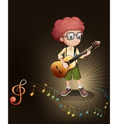 A talented boy with a guitar vector image
