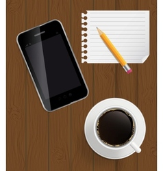 Abstract design phone coffee pencil blank page on vector image