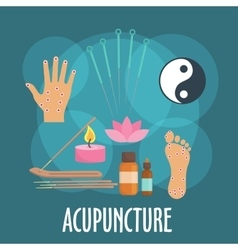 Alternative medicine icon with acupuncture therapy vector