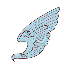 Angel or bird wing isolated object peace and love vector