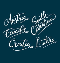 austria and south carolina hand written typography vector image