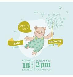 Baby arrival card - bear with flower vector