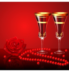 background with rose glasses and beads vector image