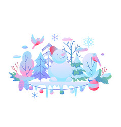 background with winter items vector image
