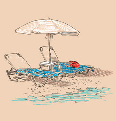Beach umbrella and sunbeds on seashore vector