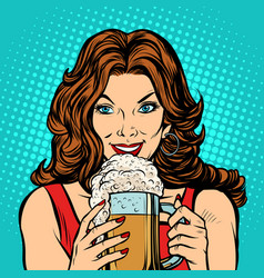 beautiful woman with a mug of beer vector image