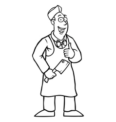 Black and white butcher holding his thumbs up vector image