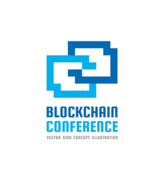blockchain technology conference - logo vector image