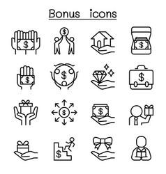 bonus icon set in thin line style vector image