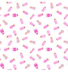 bottle baby seamless pattern for children girls vector image
