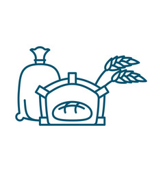 bread in oven line icon sign for production of vector image