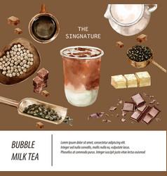 Brown sugar bubble milk tea ad content trendy vector