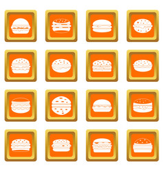 Burger icons set orange vector