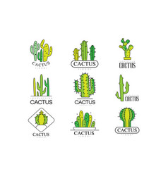 cactus logo design set desert plant green badges vector image