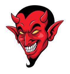 Cartoon scary devil head mascot vector