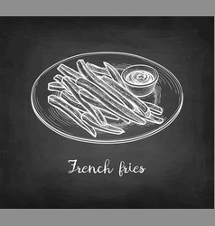 chalk sketch french fries vector image