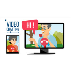 chatting conversation online web contact vector image