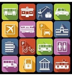 City infrastructure icons white vector