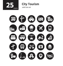 city tourism solid icon set vector image