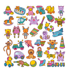 color icons of children toys hand drawn vector image