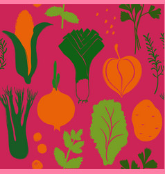 colorful vegetables seamless pattern vector image