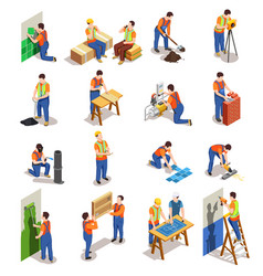 Construction workers isometric people vector