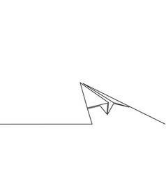 continuous line drawing of paper airplane vector image