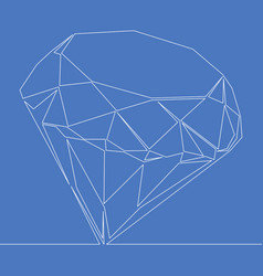 Continuous one line drawing diamond icon vector