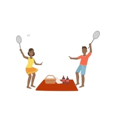 Couple Playing Badminton On Picnic vector