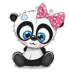 Cute cartoon panda girl on a white background vector