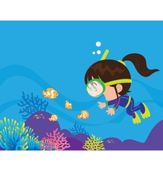 Cute girl diver under the sea vector