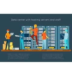 Data center with hosting servers and staff vector image