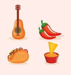 Delicious mexican food icons vector
