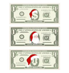 design template one dollar banknotes with santa vector image