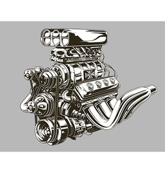 Detailed hot road engine with skull tattoo vector