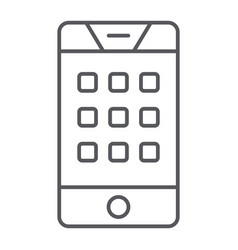 dial number on phone thin line icon mobile and vector image