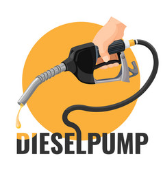 Diesel pump promotional logotype with fuel nozzle vector