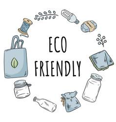 Eco friendly wreath no plastic items vector