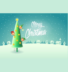 elves decorating christmas tree - merry christmas vector image