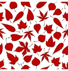 Falling red leaves seamless pattern background vector