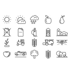 farm line icons set for your design vector image