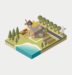 Farmhouse isometric vector