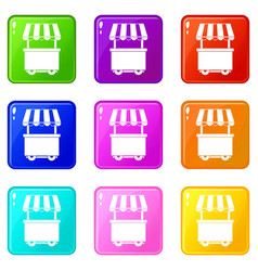 food trolley with awning icons 9 set vector image