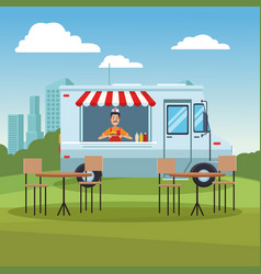 food truck at park vector image